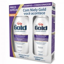 Kit champú + acondicionador Niely Gold Liso Prolongado sin sal 2x300ml
